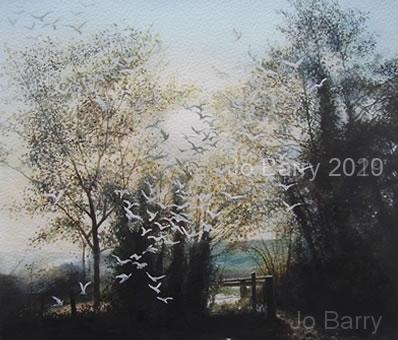 Morning Flight - Watercolour - 25 x 27 cm