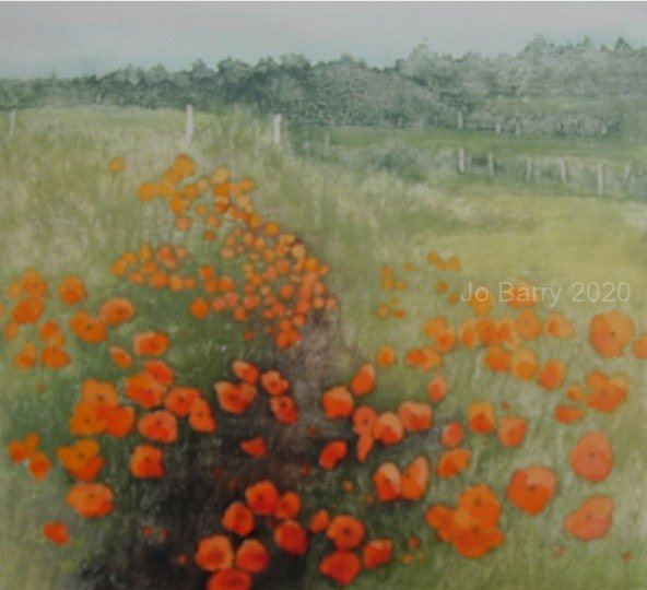 """Poppies are like pleasures spread""""   etching   20cm x 22.5cm"""