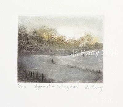 Against a setting sun - Etching - 8cm x 10 cm
